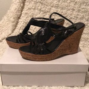 Athena Alexander black leather and cork wedges